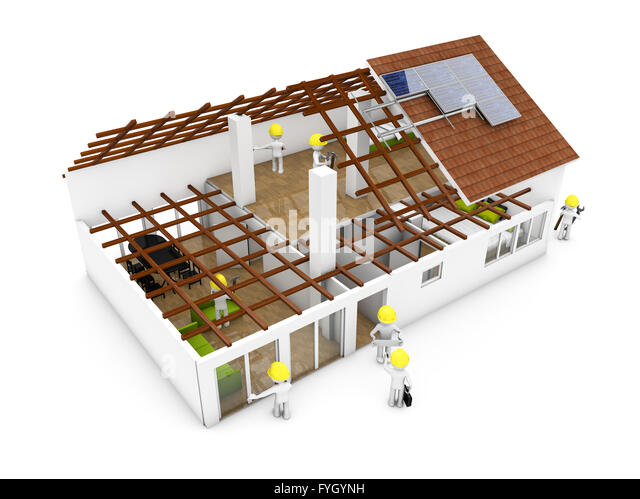 architecture model with workers isolated on white background - Stock Image