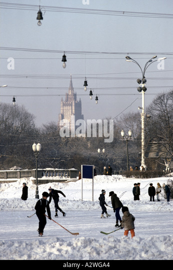 ice hockey in a moscow park - Stock Image
