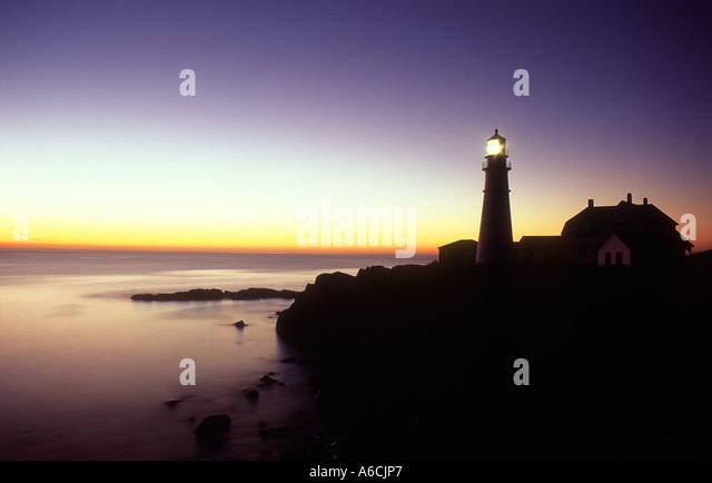 USA Maine Cape Elizabeth Portland Head Lighthouse at dawn - Stock-Bilder