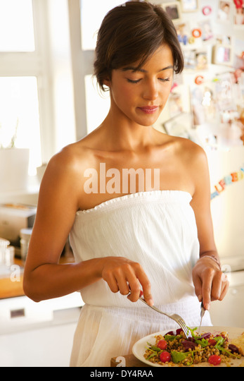 Young Woman Having Lunch - Stock Image