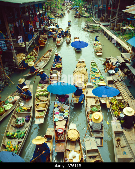 Floating market near Bangkok, Thailand - Stock-Bilder
