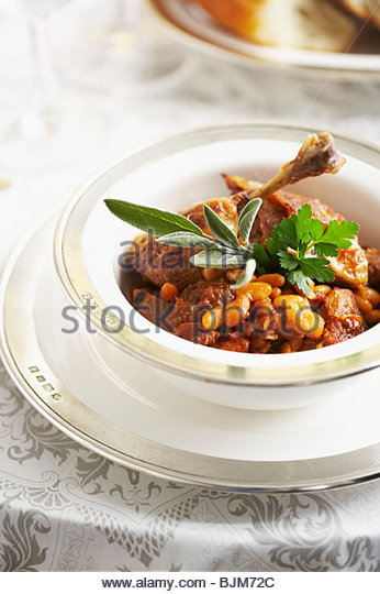 Bowl of Cassoulet with Pork, Mutton and White Beans - Stock Image