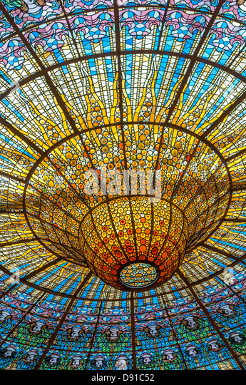 Ceiling in Music Palace, Barcelona, Spain - Stock Image