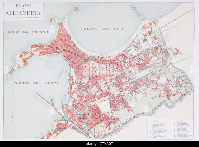 Plan of Alexandria, Egypt at the turn of the 20th century. Map is edited in Spanish language. - Stock Image