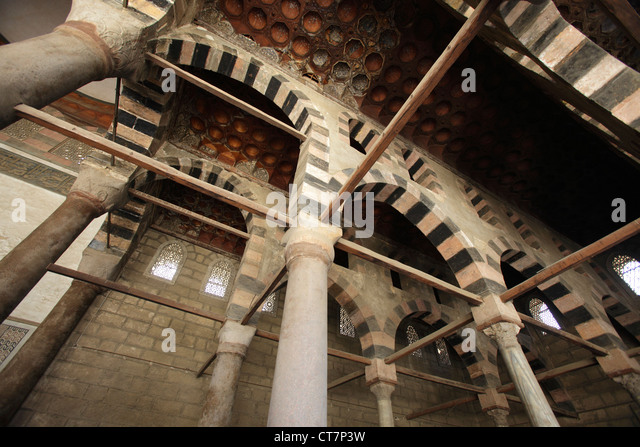 Arcade in the Mosque of Sultan al-Nasir Muhammad at the Citadel in Cairo, Egypt - Stock Image