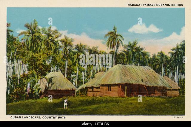 'Habana: Paisaje Cubano, Bohios. Cuban Landscape, Country Huts', c1910. Artist: Unknown. - Stock Image