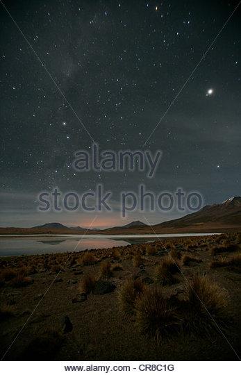 Stars shine bright over Altiplano, Bolivia - Stock Image