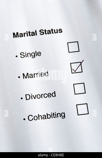 Marital status questionnaire, married ticked. - Stock Image