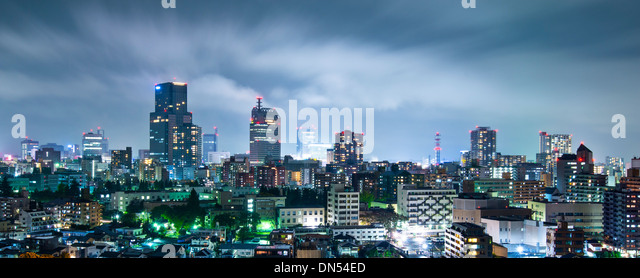 Sendai, Japan cityscape at night - Stock-Bilder