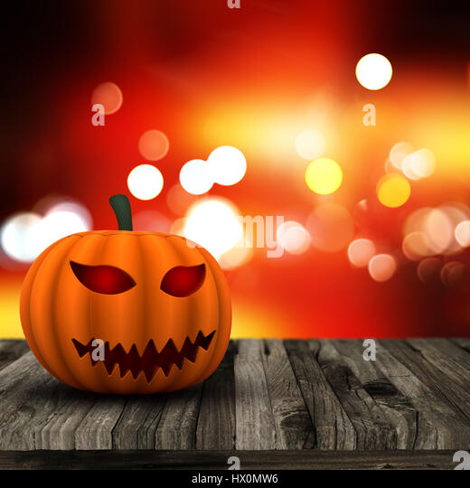 Halloween background with 3D pumpkin on a wooden table with bokeh lights background - Stock Image