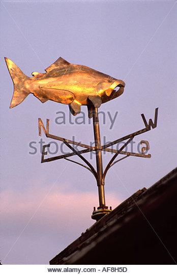 Alaska Stika Harbor fishing village fish shaped weathervane - Stock Image