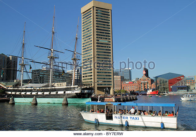 Maryland Baltimore Inner Harbor Harborplace Patapsco River city waterfront attraction World Trade Center building - Stock Image