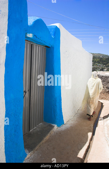 Ethiopia, Harar, Blue painted doorway to House in Old town, - Stock Image