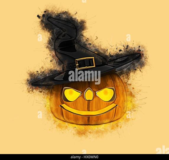 Grunge style Halloween pumpkin background - Stock Image