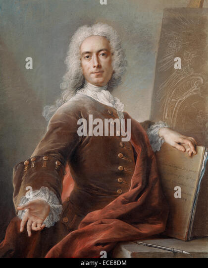 Self-Portrait by Charles-Antoine Coypel, French, 1734; Pastel on paper; Unframed: 98.1 x 80 cm (38 5/8 x 31 1/2 - Stock Image