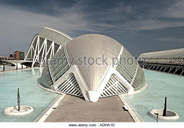 Spain Valencia City of sciences and arts by architect Santiago Calatrava L Hemisferic Hemesphere planetarium imax - Stock Image