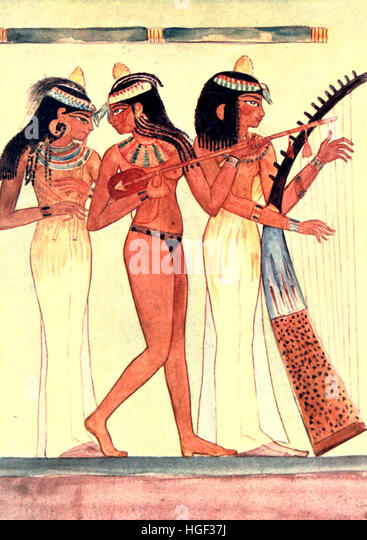 Wall paintings in the Tomb of Nakht at Thebes, Egypt, circa 1900 - Stock-Bilder