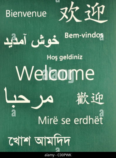 Welcome in different languages stock photos welcome in for Green in different languages