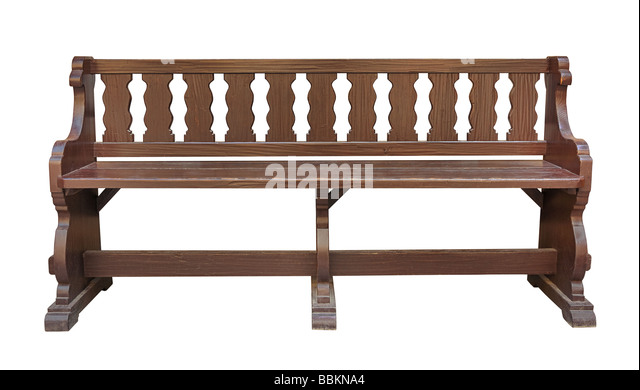 Very old oak park bench isolated on white background with clipping path - Stock Image