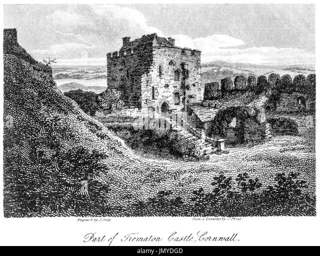 An engraving of Part of Trematon Castle, Cornwall scanned at high resolution from a book printed in 1808. Believed - Stock Image