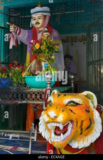 Myanmar (Burma), Mon State, Mawlamyine (Moulmein), Kyaik Thanlan pagoda (also called Kipking Pagoda), Po Po Kyi, - Stock-Bilder