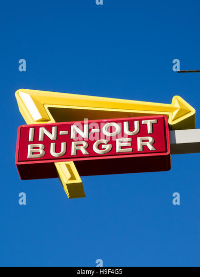 A sign for In-N-Out Burger at Fisherman's Wharf in San Francisco, California. - Stock Image