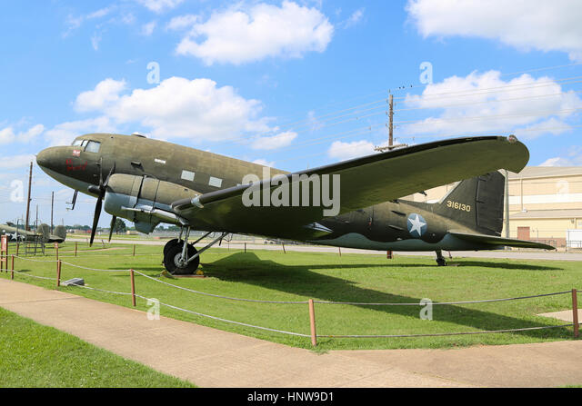 A Douglas C-47 Skytrain on display at The Barksdale Global Power Museum, on Barksdale AFB, Louisiana - Stock Image
