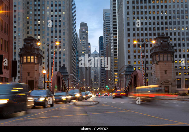 Street of Chicago. Image of La Salle street in Chicago downtown at twilight. - Stock Image