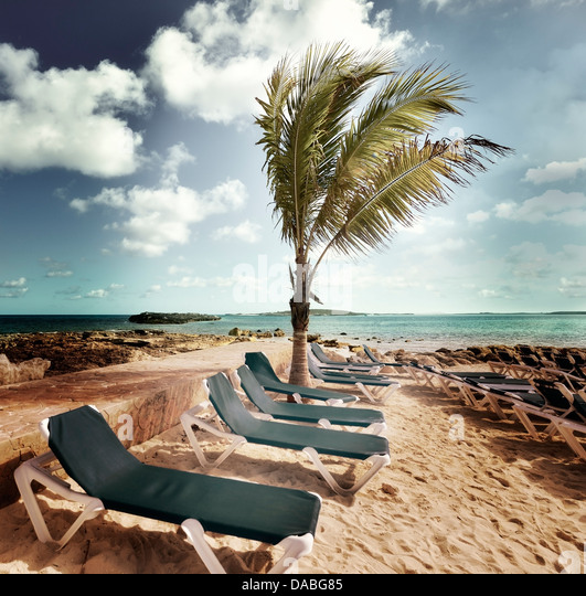 Chairs In A Tropical Beach - Stock Image