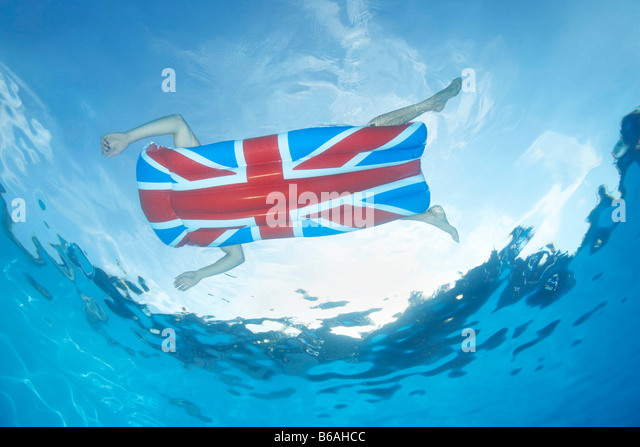 Underwater view of man in pool - Stock Image