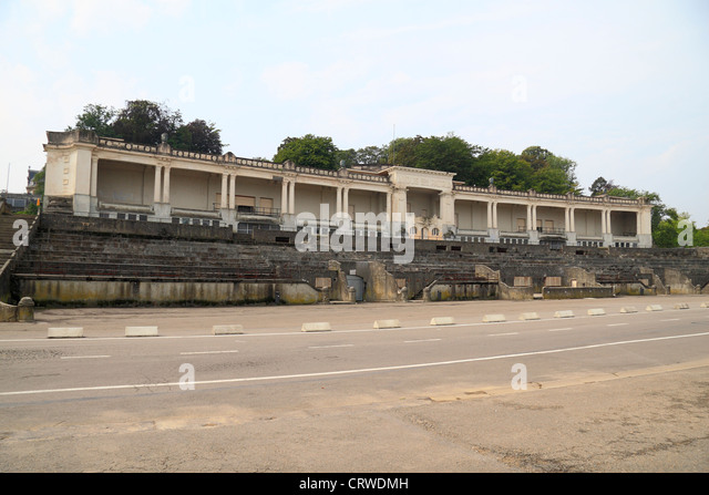 The stand of the Stade des Jeux (Games stadium), part of the Namur Citadel in Namur, Wallonia, Belgium. - Stock Image