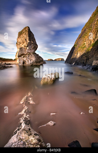 Motion capture from ballintoy in North Antrim. Northern Ireland. - Stock Image