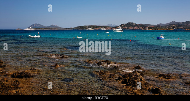 Italy Sardinia Costa Smeralda Cala Liscia Ruia Panorama - Stock Image