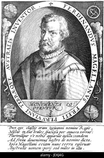 FERDINAND MAGELLAN ( c 1480-1521) Portugese explorer in a 1598 engraving by Crispijn de Passe - Stock-Bilder