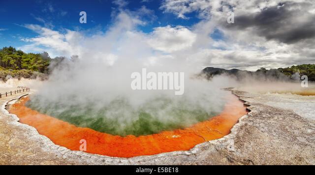 Champagne Pool in Waiotapu Thermal Reserve, Rotorua, New Zealand - Stock Image