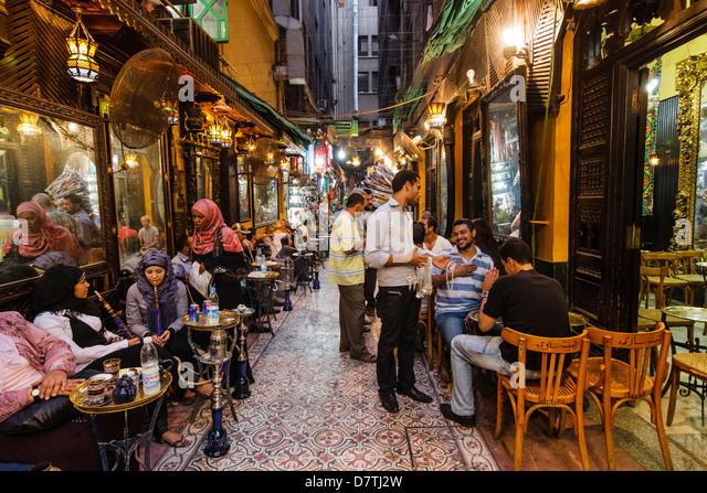 Fishawi´s Coffehouse at Khan al-Khalili, Islamic Cairo, Egypt - Stock Image