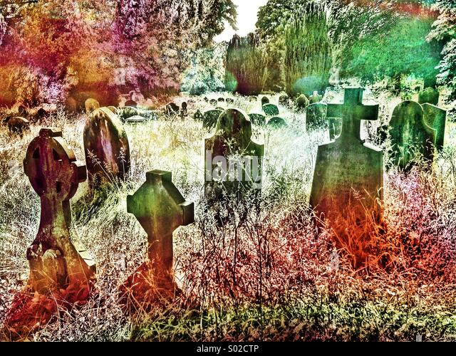 Artistic & Colourful view of Church of England Graveyard, showing Headstones & Tall Grasses. Photo Credit - Stock Image