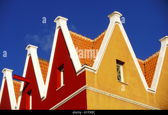CARIBBEAN Netherlands Curacao Colorful Roof Tops Willamstad - Stock Image