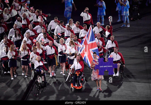 Rio De Janeiro, Brazil. 7th Sep, 2016. The delegation of Great Britain enter the stadium during the opening ceremony - Stock-Bilder
