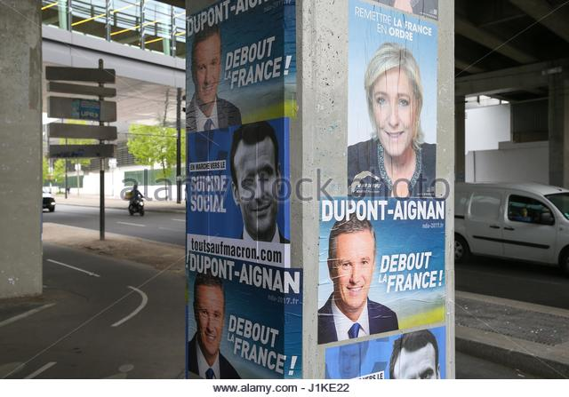 Paris, France. 22nd Apr, 2017. Mock campaign posters are seen in the streets of Paris, France on April 22, 2017, - Stock Image