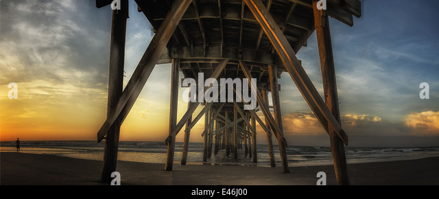 A dramatic sunrise panoramic view of The Jolly Roger Pier at Topsail Beach North Carolina - Stock Image