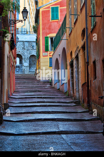 Street scene in the Vieille Ville (old town) part of Nice on the French Riviera (Cote d'Azur) - Stock-Bilder