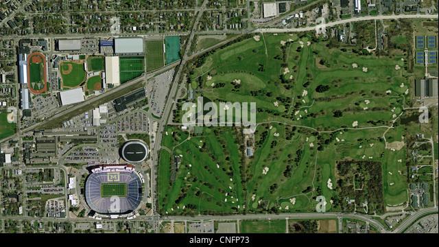 aerial photo map of University of Michigan Ann Arbor athletic facilities - Stock Image