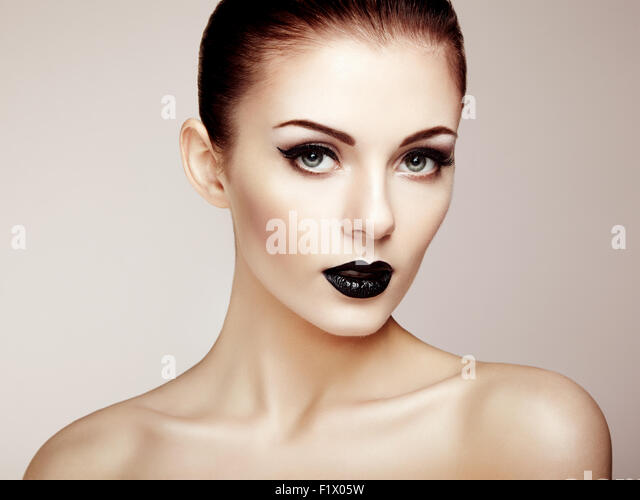 Beautiful woman with perfect makeup. Beauty portrait. Fashion photo - Stock Image