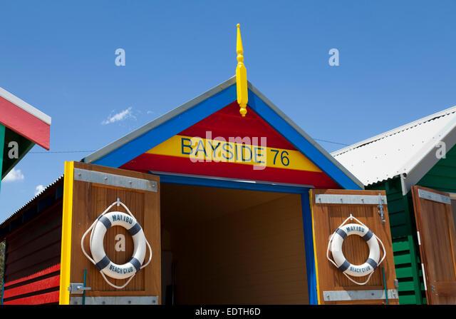 Painted Beach hut in Melbourne Brighton Beach, Australia - Stock Image