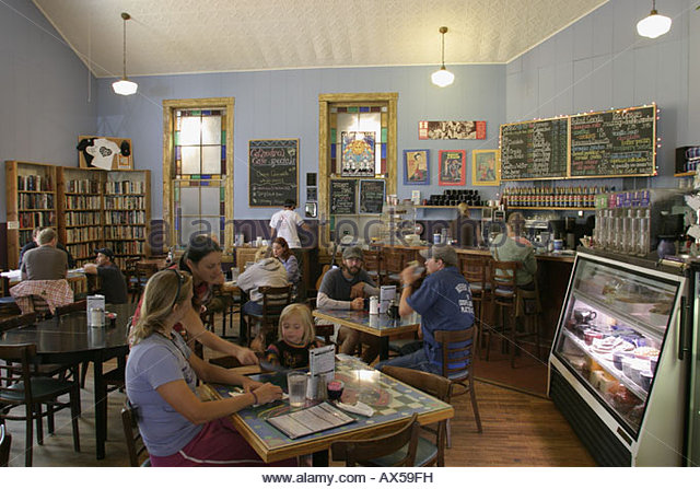 West Virginia Fayetteville Court Street Cathedral Cafe dining food restaurant customers - Stock Image