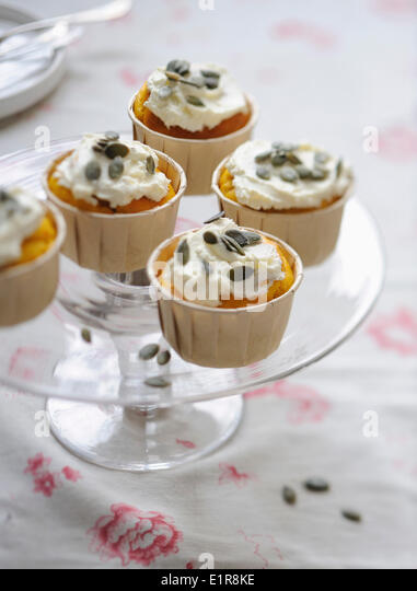 Pumpkin and squash seed cupcakes - Stock Image