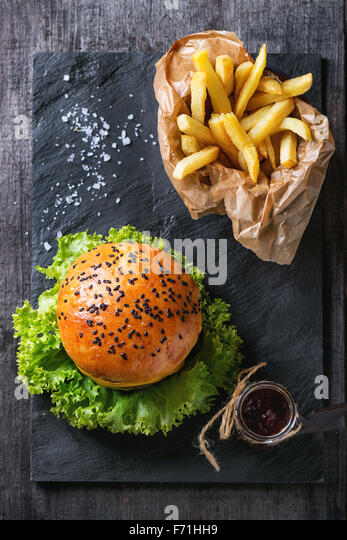 Homemade hamburger with french fries - Stock Image