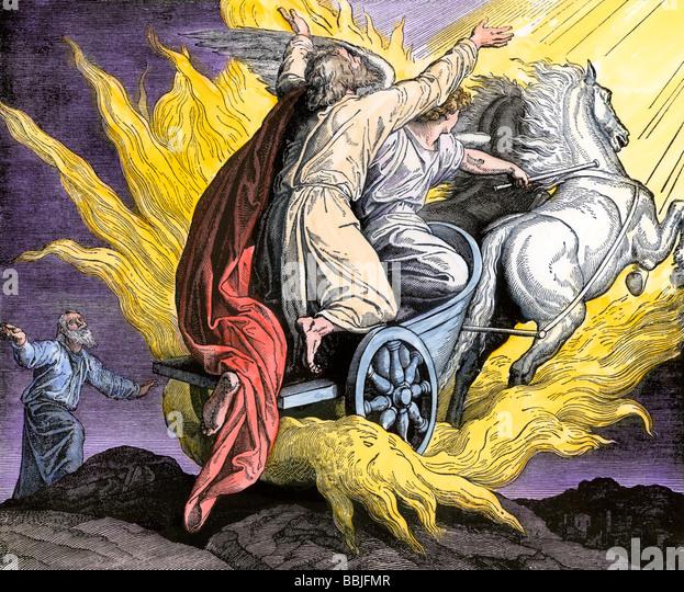 Elijah taken by an angel in a fiery chariot - Stock Image