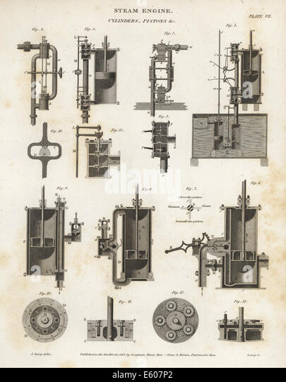 Cylinders and pistons in a steam engine, 19th century. - Stock Image